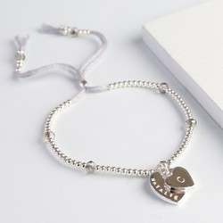Personalised Double Heart Bead & Crystal Bracelet