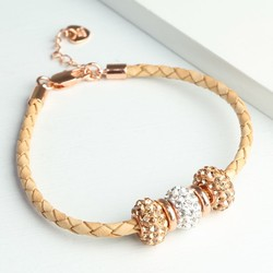 Shamballa Bead & Braided Rose Gold Leather Bracelet