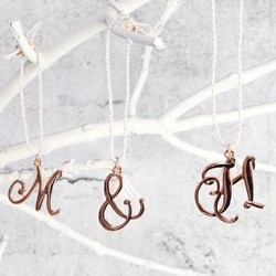 Rose Gold Hanging Letter Charm Decoration