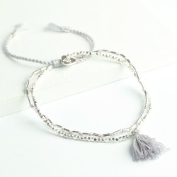 Layered Tassel Friendship Bracelet in Grey & Silver