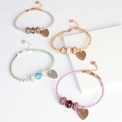 Personalised Shamballa Bead & Braided Leather Bracelet