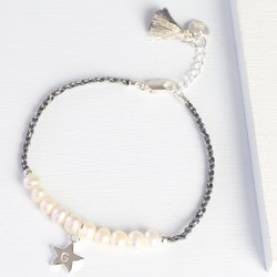 Twisted Cord & Pearl Bracelet with Initial Charm