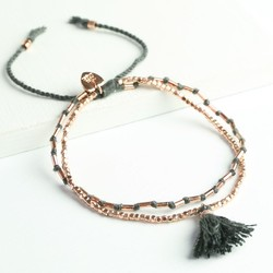 Layered Tassel Friendship Bracelet in Dark Grey & Rose Gold
