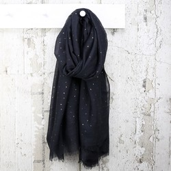 Black Metallic Stars Scarf