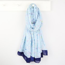 Light Blue Bird and Blossom Scarf