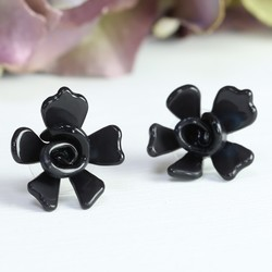 Acrylic Rose Stud Earrings in Black