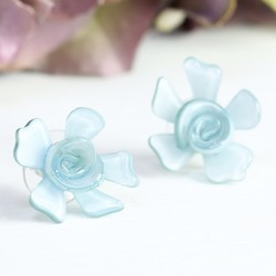 Acrylic Rose Stud Earrings in Ice Blue