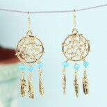 Gold and Turquoise Dreamcatcher Drop Earrings