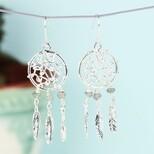 Silver and Labradorite Dreamcatcher Drop Earrings