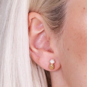 Gold Dipped in Silver Pineapple Earrings
