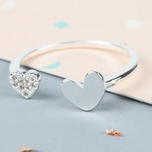 Shiny Heart Gem Open Heart Ring In Silver