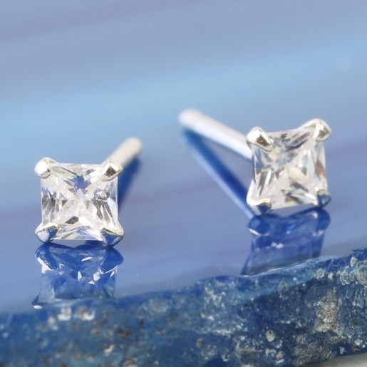 b21ab37841208a Tiny Sterling Silver Square Crystal Stud Earrings | Lisa Angel