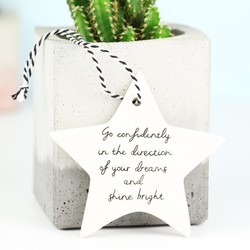 'Go Confidently' Hanging Ceramic Star Decoration