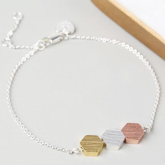 Brushed Mixed Metal Hexagonal Bracelet