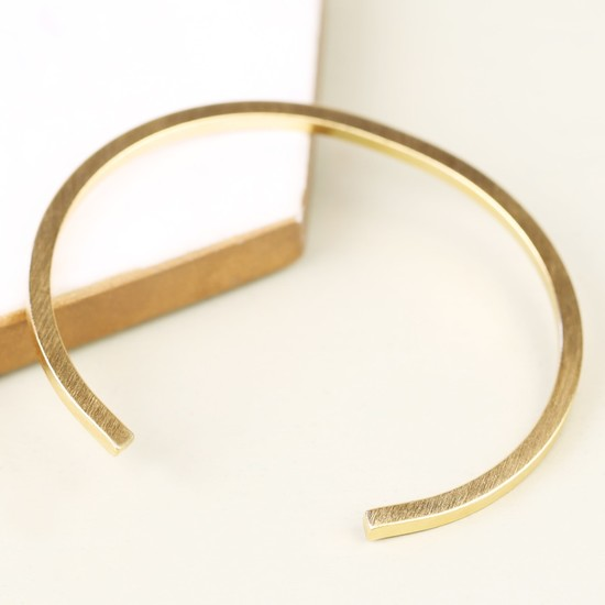 Men's Brushed Gold Bar Bangle
