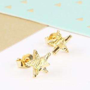 3D Gold Star Earrings