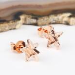 3D Rose Gold Star Stud Earrings