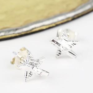 3D Silver Star Earrings