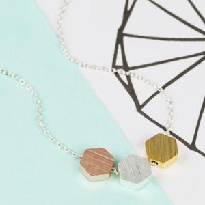 Mixed Metal Hexagonal Necklace