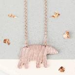 Brushed Rose Gold Bear Necklace