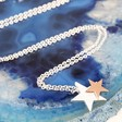 Lisa Angel Ladies' Delicate Starry Nights Brushed Silver and Rose Gold Star Necklace