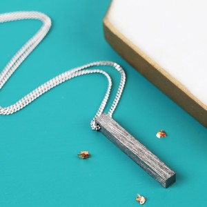 Long Black Silver Men's Bar Necklace