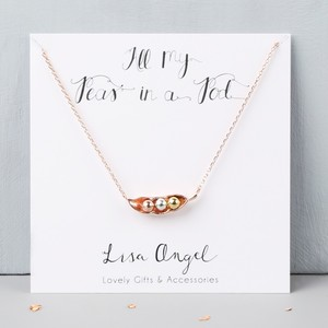 Three Peas in a Pod Rose Gold Necklace