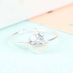 Hexagonal White Marble Stone Ring in Silver
