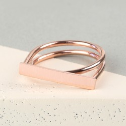 Rose Gold Double Band Bar Ring