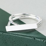 Silver Double Band Bar Ring