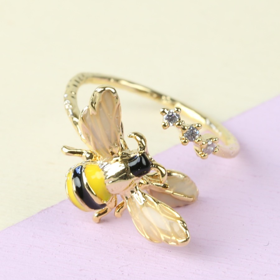 Bumblebee And Crystal Adjustable Ring In Gold Lisa Angel