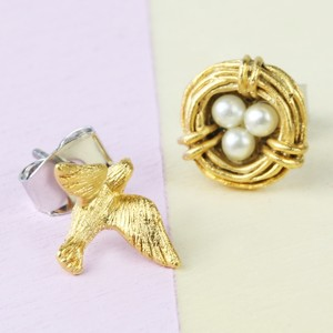 Nest and Swallow Earring Gold Set