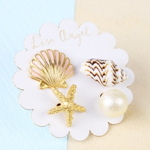 Sea shells and Pearl Set of 4 stud Gold Earrings