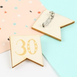 Engraved Wooden '30' Birthday Badge