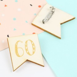 Engraved Wooden '60' Birthday Badge