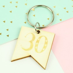 Engraved Wooden '30' Birthday Keyring