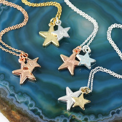 Hand-Stamped Double Star Charm Necklace
