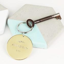 Personalised Round Brass Keyring