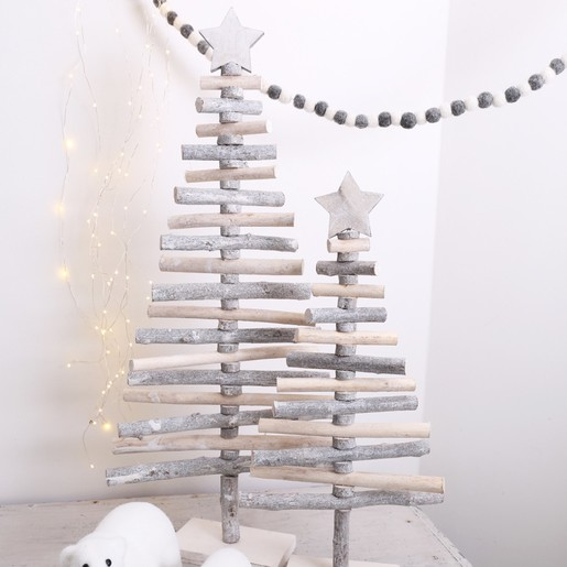 Medium Sparkly Natural Wood Christmas Tree Ornament