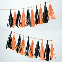 Meri Meri Orange and Black Party Tassel Garland