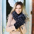 Lisa Angel Ladies' Navy & White Spot Faux Fur Mittens