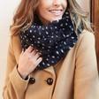 Ladies' Navy & White Spot Faux Fur Snood