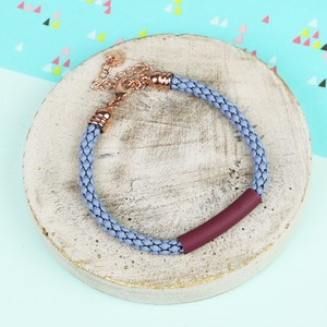 Blue Chain Burgundy Bar Bracelet with Rose Gold Clasp