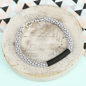 Grey Chain Black Bar Bracelet with Silver Chain