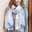 Ladies' Personalised Peacock Feather Cotton Scarf on Model