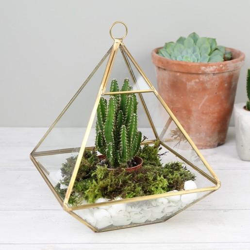 Sass And Belle Hanging Brass Pyramid Terrarium Lisa Angel