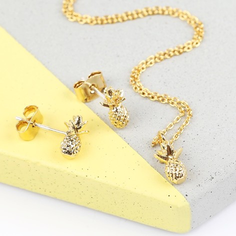 Tiny Delicate Gold Pineapple Necklace Earring Set Lisa Angel