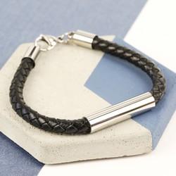 Men's Black Leather Tube Bracelet