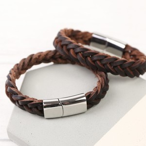 Men's Thick Brown Woven Leather Bracelet - Large
