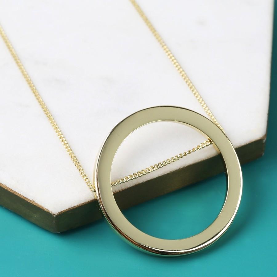 Longline large gold circle necklace lisa angel aloadofball Choice Image
